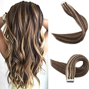 Amazon Com Easyouth 16 Tape In Hair Remy Hair Extensions Color 3