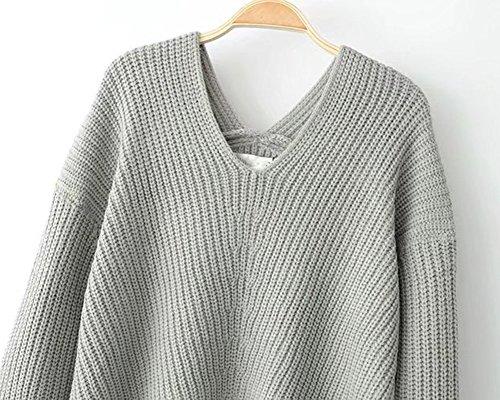 Mujer Invierno Jersey Suéter Cuello V Casual Tejido De Punto Vestido De Manga Larga Gris
