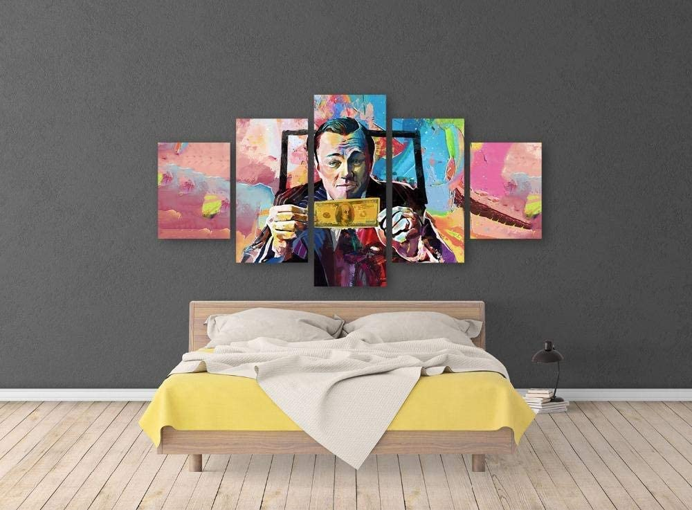 QYY Prints On Canvas Graffiti Canvas Movie The Wolf of Wall Street Leonardo Dicaprio Posters 5 Pieces Print Wall Art Living Room Home Decor