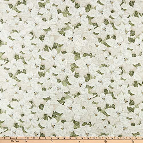 - Timeless Treasures Metallic A Very Merry Christmas White Poinsettia White Fabric by The Yard