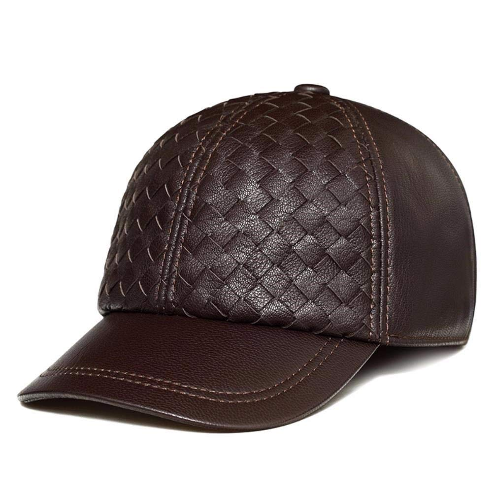 Thundertechs Man Woman Autumn and Winter Leather hat Baseball Cap Casual Outdoor Sports Cap Cap (Color : Brown, Size : 22.04-23.22inch)