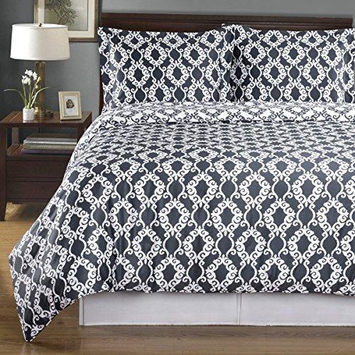 Royal Tradition Gray King/Calking Sierra Silky Soft Cotton Reversible Duvet Cover Set, California King, Geometric, ()