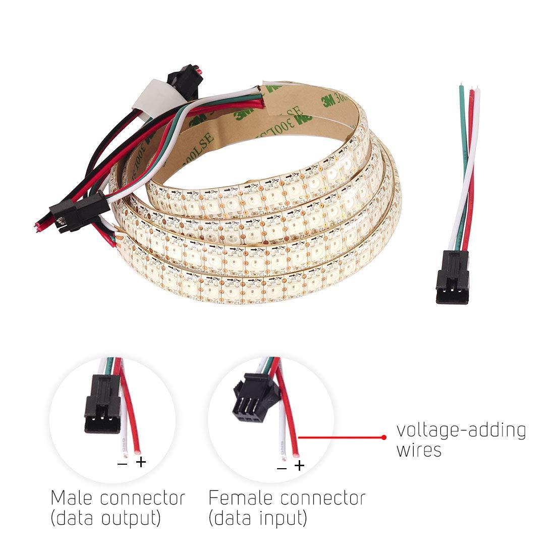 BTF-LIGHTING WS2812B 1m 144leds flexible individuellement adressable bande couleur r/êve non-/étanche DC5V