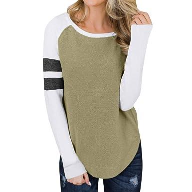 0fe19141adcb Damen Herbst Patchwork Langes Hülsen T-Shirt Sweatshirt Blusen Strickjacke   Amazon.de  Bekleidung