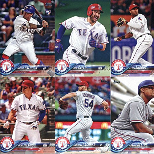 Texas Rangers Team Set - 2018 Topps Complete (Series 1, 2, Update) Texas Rangers Team Set of 31 Cards: Joey Gallo(#12), Rougned Odor(#56), Nomar Mazara(#133), Shin-Soo Choo(#199), Andrew Cashner(#208), Texas Rangers(#229), Willie Calhoun(#245), Adrian Beltre(#254), Elvis Andrus(#323), Joey Gallo(#326), Cole Hamels(#371), Martin Perez(#395), Alex Claudio(#404), Mike Minor(#412), Carlos Gomez(#447), Delino DeShields(#482), Mike Napoli(#512), Matt Bush(#523), plus more