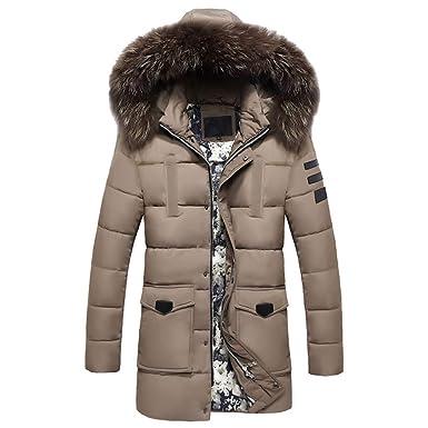 Herren Steppjacke Lange Dicke Daunenjacke mit Kapuze Männer Winter  Mittlerer Länge Zip Reißverschluss verdickt Hut Abnehmbare Baumwolle  Winterjacke Outwear ... 94c7783446