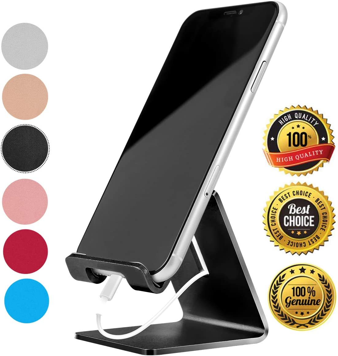 Desk Cell Phone Stand Holder Aluminum Phone Dock Cradle Compatible with Switch, All Android Smartphone, for iPhone 11 Pro Xs Xs Max Xr X 8 7 6 6s Plus 5 5s 5c Charging, Accessories Desk (Black)