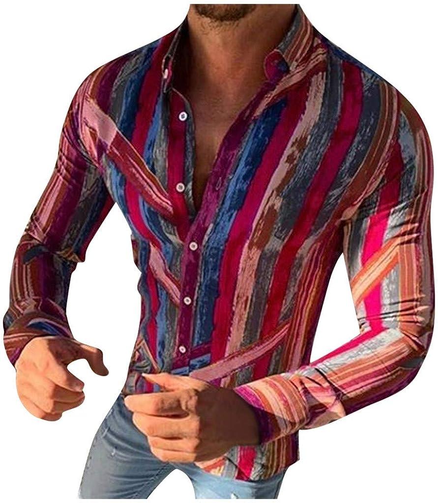 Polo de Hombre, Blusa Estampada Rayas de La Moda del Hombre Tops Camisetas de Manga Larga Casual Tops para Hombre Camisas de CláSico de La Moda Manga Larga Estampada de Hombre: Amazon.es: