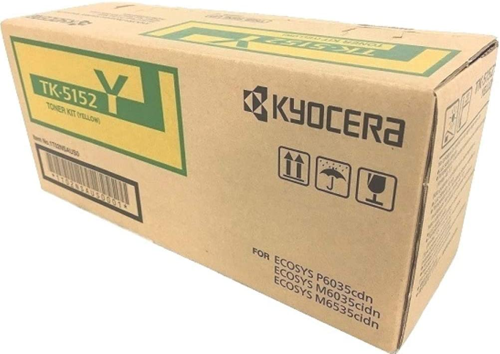 Kyocera 1T02NSAUS0 Model TK-5152Y Yellow Toner Kit; Compatible with ECOSYS P6035cdn Up to 10000 Page Yield ECOSYS M6035cidn and M6535cidn Color Network Printers; Genuine Kyocera