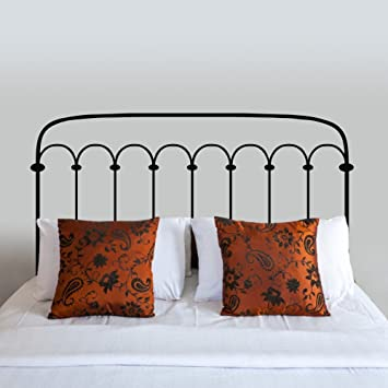 BATTOO Metal Bed Frame Style Headboard Bedpost Wall Decal Vinyl Art  Stickers For Twin Full Queen