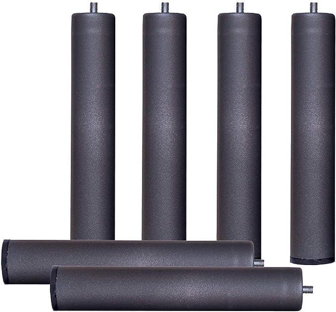 Abitti Pack 6 Patas cilíndricas METALICAS 45cm Altura Especial, ANTIRUIDO para Base TAPIZADA o SOMIER. Montaje rápido y fácil