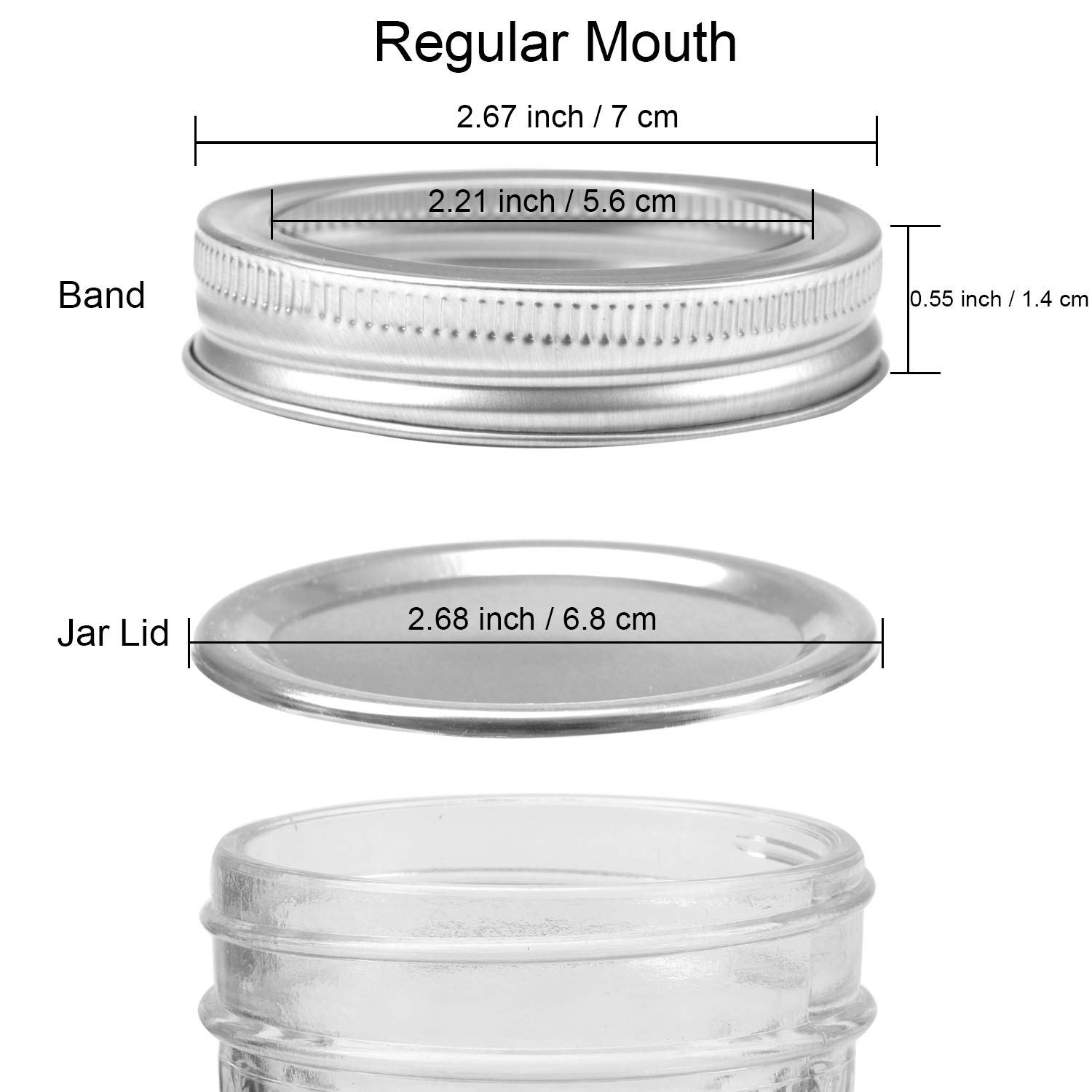 Includes Lid and Band 20, Regular Mouth Resinta 20 Pack Regular Mouth Mason Jar Split-Type Lids Silicone Seals Leak Proof Secure Mason Storage Solid Caps