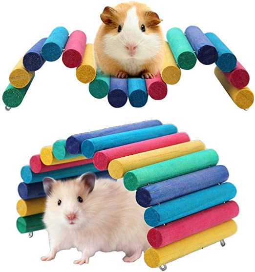 Haokaini Hamster Wooden Bridge Small Animal Bridge Ladder House Chew Toy for Reptile Mice Rodents
