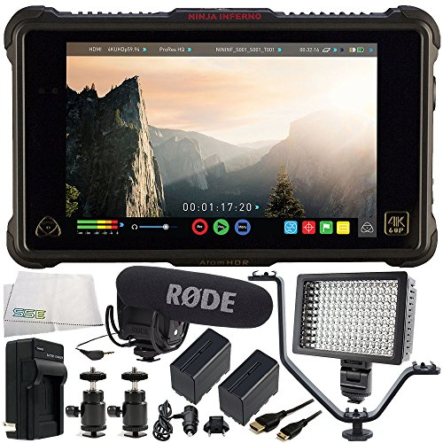 Atomos Ninja Inferno 7'' 4K HDMI Recording Monitor 11PC Accessory Bundle Includes Rode VideoMic Pro with Rycote Lyre Shockmount + 160 LED Video Light + 2 Replacement F970 Batteries + More by SSE