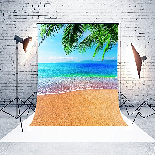 (Dudaacvt 5x7 Feet Tropical Beach Photography Backdrops Vinyl Backgrounds Great for Studio Palm Trees Summer Background)