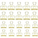 20 Pieces Gold Premium Wire Binder Clips, DEEDYGO Assorted Sizes Stainless Steel Office Clips (10 Medium + 10 Small)