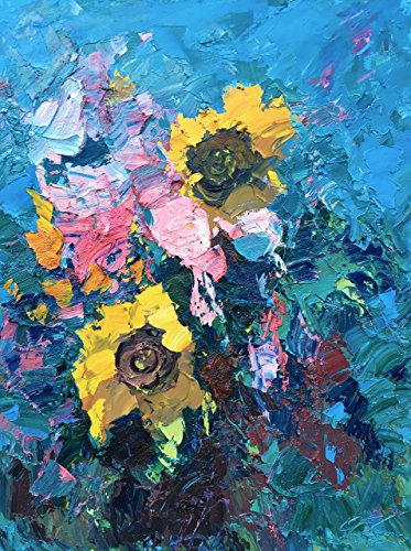 Flowers Painting  Oil Canvas Sunflowers Roses Impasto Artwork Abstract Modern Floral