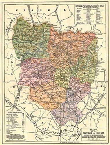 Map Of Spain Huesca.Amazon Com Spain Mapa De La Provincia De Huesca 1913 Old Map