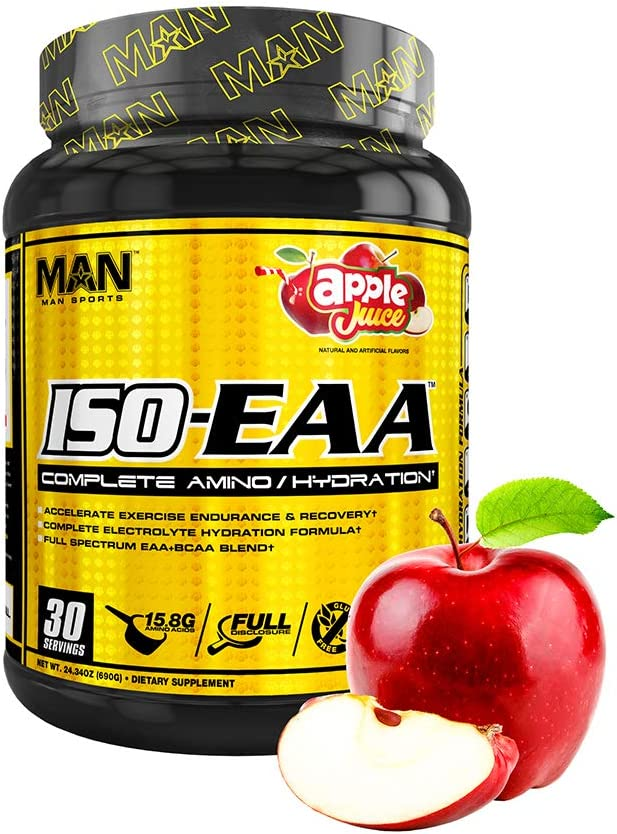Man Sports Iso EAA. Apple Juice Flavored Hydration Electrolyte Powder with BCAA Amino Acids for Muscle Recovery, Endurance, and Hydration
