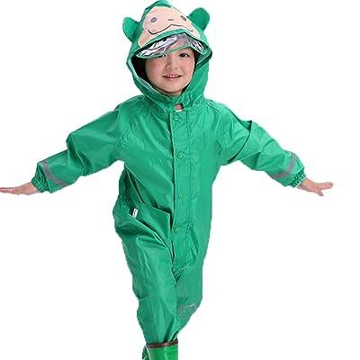 4Young Children Rain Jackets One Pieces Set Cartoon Waterproof Raincoat with Hood