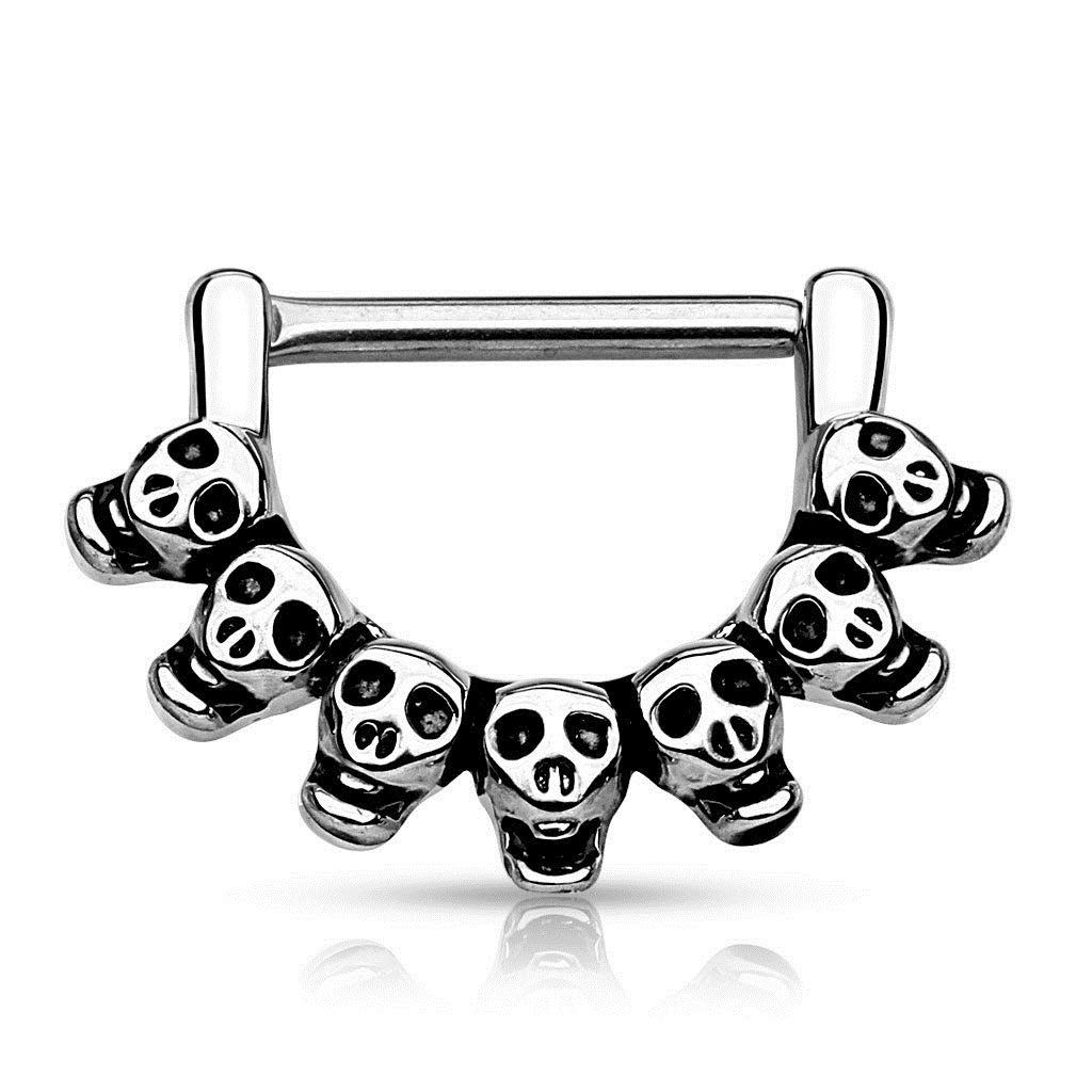 Choose Colors adit/_mc 1 Pair of Lined Skulls 14K Gold Plated Surgical Steel Nipple Bar Clicker Rings
