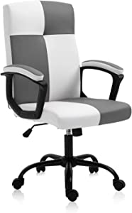 B2C2B Home Office Desk Chair High Back Computer Chair PU Leather Executive Chair Rolling Swivel Adjustable Task Chair with Wheels for Teens Girls, Black