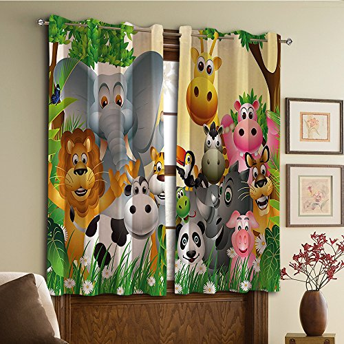 (Custom design curtains/Vintage Lace Window Curtain/Grommet Top Blackout Curtains/Thermal Insulated Curtain For Bedroom And Kitchen-Set of 2 Panels(ls in Jungle Elephant Giraffe Panda Bear Pig Lion))