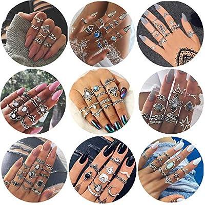 FIBO STEEL 42-63 Pcs Vintage Knuckle Rings for Women Girls Stackable Midi Finger Ring Set