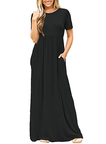 045cf94338 ZNCMRR Women Short Sleeve Loose Plain Long Maxi Casual Dress with Pockets  (S, Black