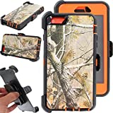 For iphone 6 Case, Kecko® Heavy Duty High Impact Weather Scratch Resistant Full Body Protective Defender Series Tree and Grass Forest Camo Hard Case Cover with Belt Clip Holster and Built-in Screen Protector for Apple iphone 6 4.7 inch (Tree Orange)