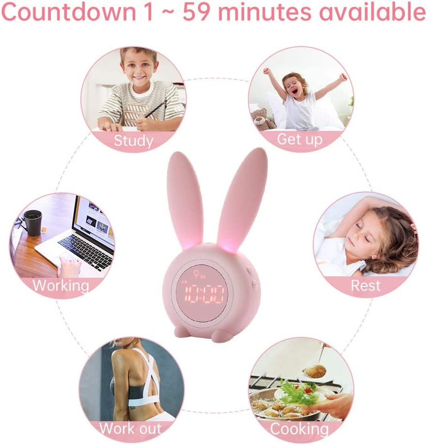 KKUYI Kids Alarm Clock with Night Light for Girls USB Charging Powered by Battery Timer Function Magnet Installation Pink Bunny Clock