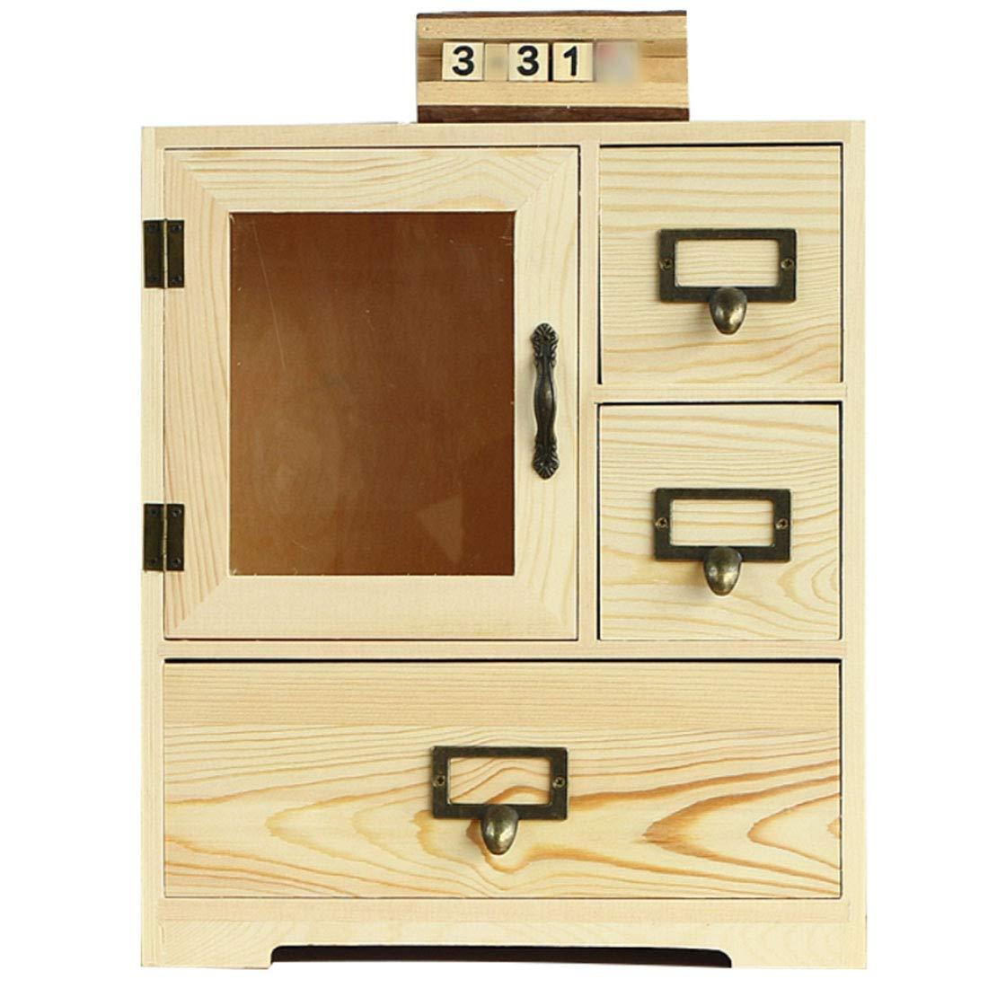 クリエイティブデスクトップ化粧品収納ボックスソリッドウッド収納キャビネット木製デスク引き出し収納ボックスラック (Color : Wooden) B07MFTX2N3 Wooden