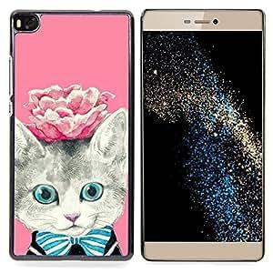 For HUAWEI P8 - rose kitty kit kitten cat eyes /Modelo de la piel protectora de la cubierta del caso/ - Super Marley Shop -