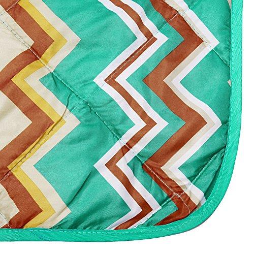 DOZZZ Waterproof Beach Blanket Water Resistant Picnic Blanket Camping Blanket Emergency Blanket Tote Mat Park Mat Outdoor Blanket 60 x 50 Inchens, ZIGZAG Blue Yellow