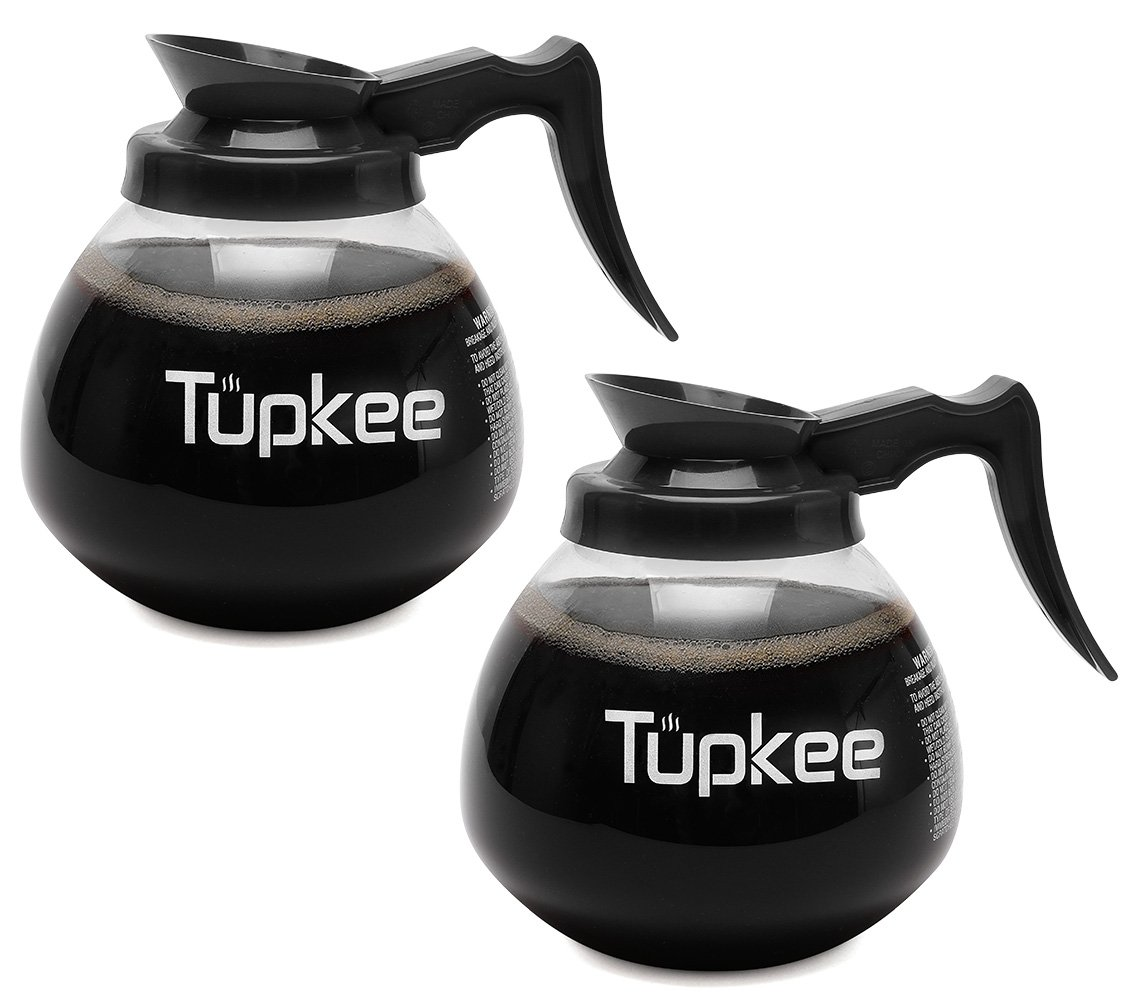 Glass Coffee Pot Replacement Carafe - SHATTER-RESISTANT Commercial Restaurant Decanter Carafe - 64 oz 12 Cup, 2 Black Handle, Set of 2, Compatible with Wilbur Curtis, Bloomfield, Bunn Coffee Pot by Tupkee
