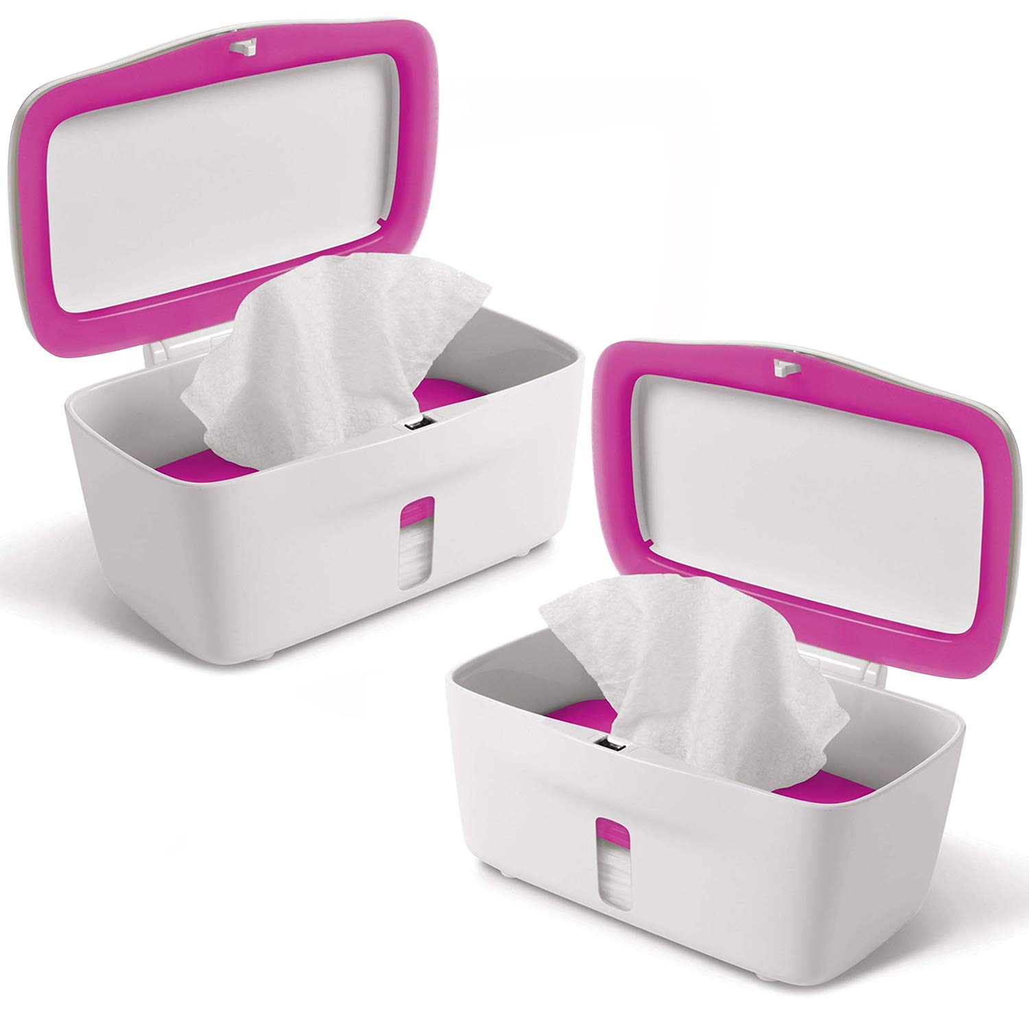OXO TOT Perfect Pull Baby Wipes Dispenser, Pink - Set of 2 Diaper Wipe Holders by OXO