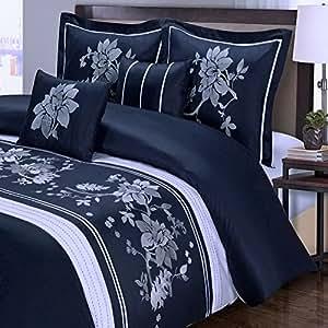 navy blue floral duvet cover king cal king oversized modern white flowers. Black Bedroom Furniture Sets. Home Design Ideas