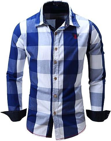 Camisa de Cuadros para Hombre Camisas de Manga Larga Solapa Informal de algodón Top Slim fit Shirt cómodo Top Superior Camisa Suelta Casual: Amazon.es: Ropa y accesorios