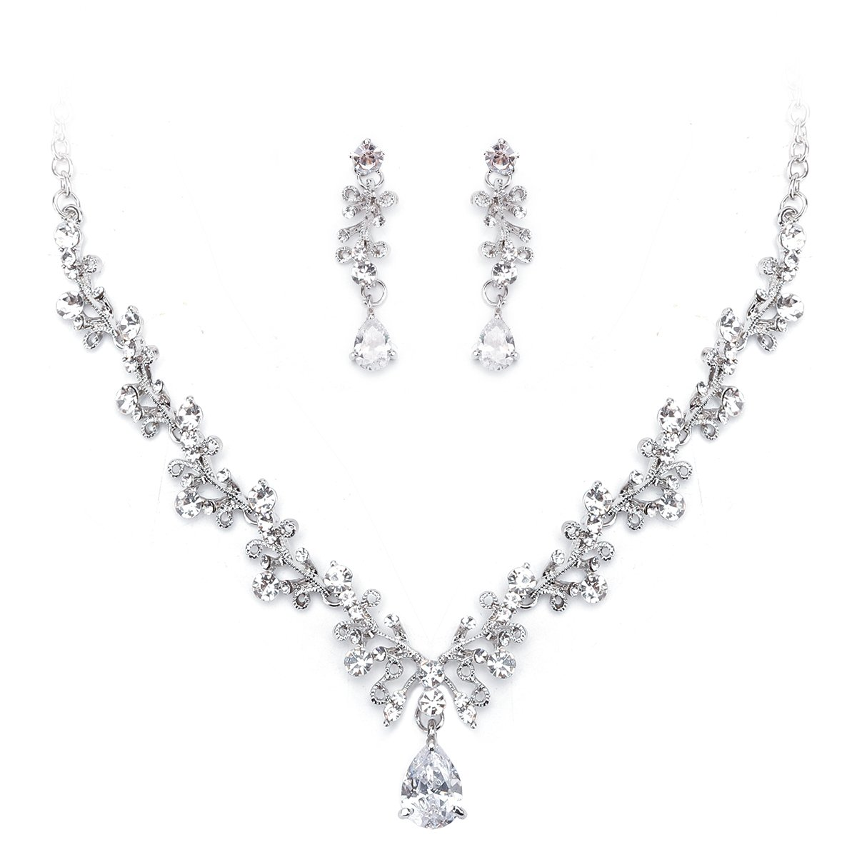 Ezerbery Women's Wedding Bridal Austrian Crystal Teardrop Cluster Statement Necklace Dangle Earrings Jewelry Set For Wedding, Prom, Bridesmaids or Mother of Bride