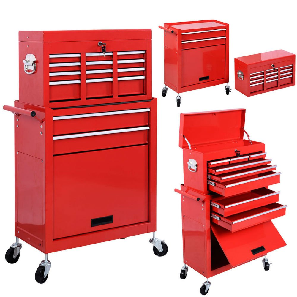 New Removable Top Chest Box Rolling Tool Storage Cabinet Sliding Drawers