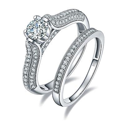 Bonlavie 1.25 Carat Round Brilliant CZ Sterling Silver 925 Wedding Engagement Ring Band Set bqpwEqlp