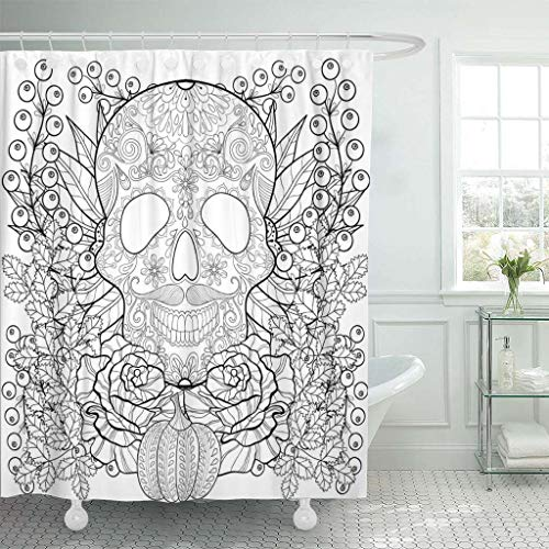 Emvency Fabric Shower Curtain Curtains with Hooks Zentangle Skull with Pumpkin Rose Sunflower for Halloween Freehand Sketch for Adult Coloring Page 66