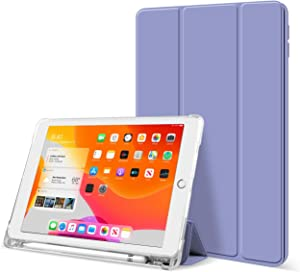 KenKe iPad 9.7 Inch 2018/2017 Case with Pencil Holder Cover Compatible with Leightweight Clear Transparent Smart Cases for Apple iPad 9.7 5th/6th Generation Soft TPU Skin (Purple)