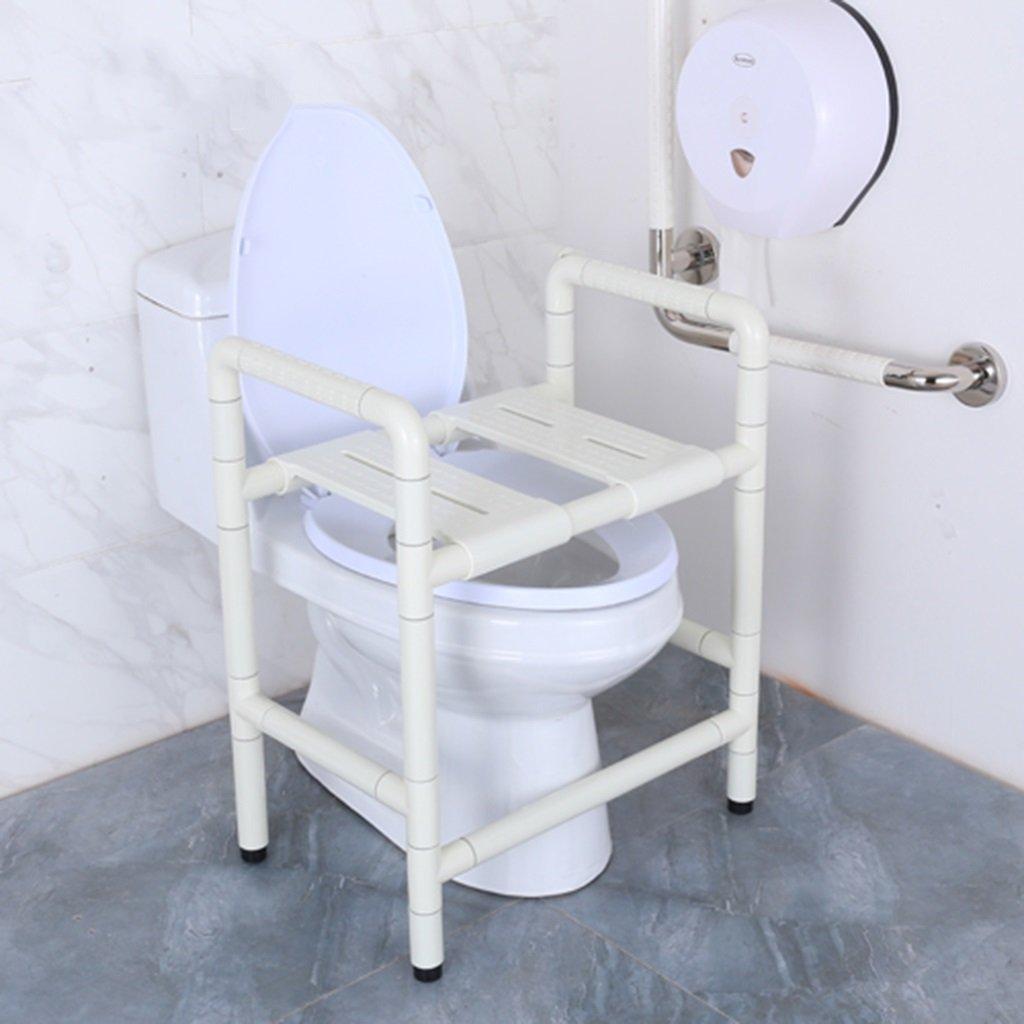 デュアルチェアシャワースツールステンレススチールトイレチェアナイロン高齢者障害者浴衣チェア (色 : 白) B07D6G7CSH 白 白