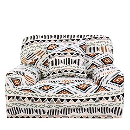 uxcell Stretch Sofa Cover Couch Cover 1 Seater Polyester Spandex Fabric 1-Piece Sofa Slipcover for Chair Loveseat Sofa Elastic Furniture Protector with One Free Cushion Case #C 35-55 Inch