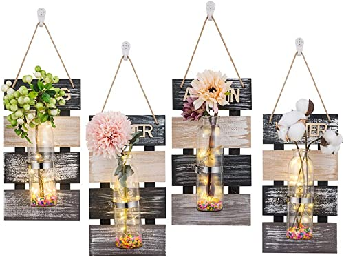 Sziqiqi Large Rustic Wood Mason Jar Vase Wall Planter Sconces Set of 4, Hanging Wall Planter Flower Terrarium Container Holder, Wall Background Decoration for Living Room Bedroom Office, 4 Seasons