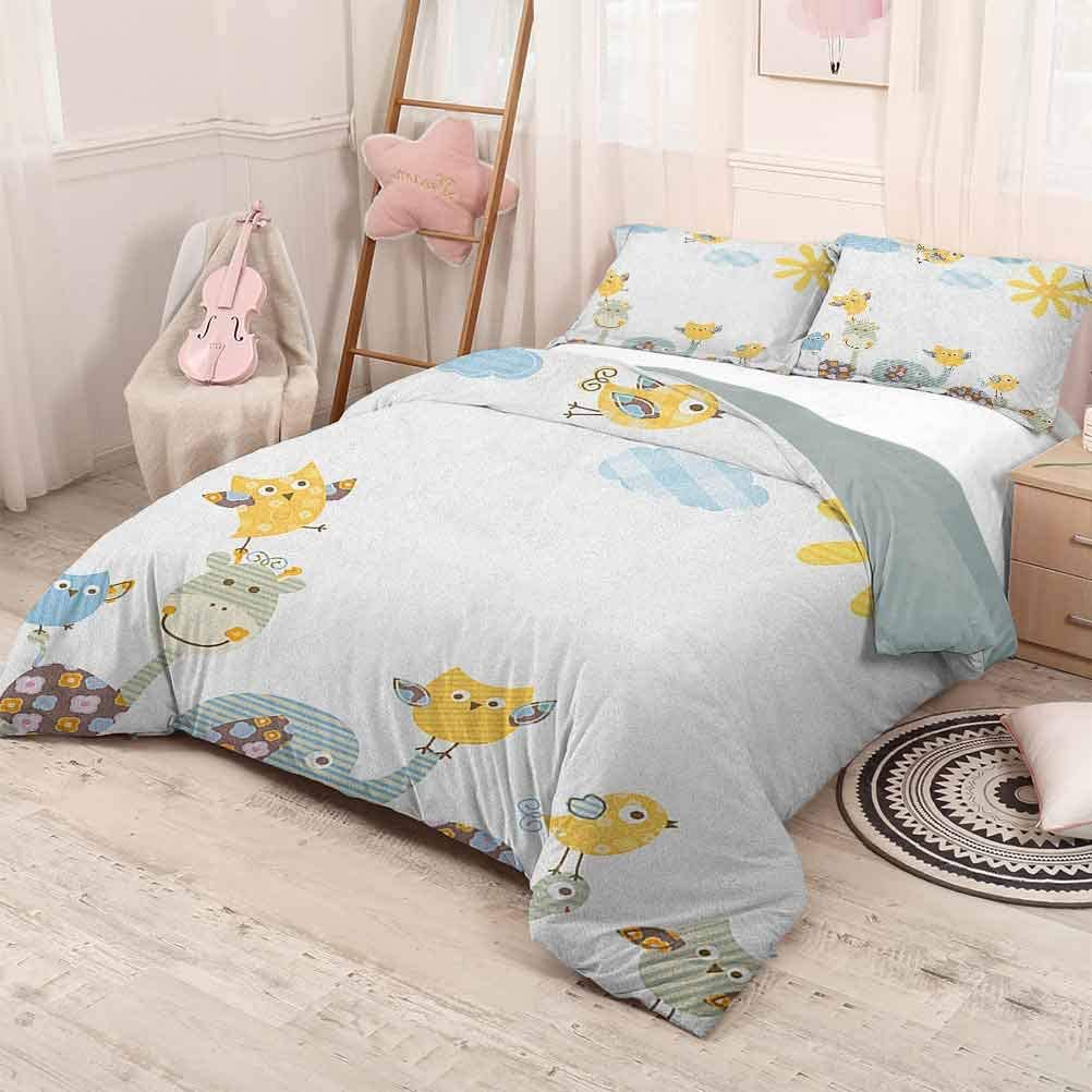 prunushome Nursery 3-Piece Fine Printed Duvet Cover SetJolly Jungle Creatures Happily Walking in a Sunny Day Cute Animals Lightweight 3 Piece Bed Sets Yellow Pale Blue Pale Green Full