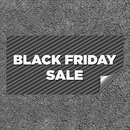 CGSignLab |''Black Friday Sale -Stripes Gray'' Heavy-Duty Industrial Self-Adhesive Aluminum Wall Decal | 24''x12''