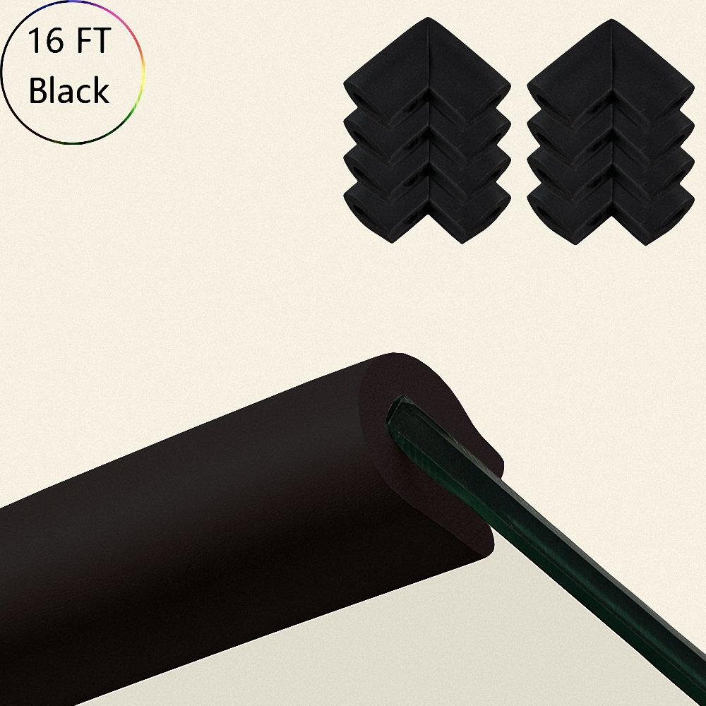 HANYUN [U-shaped - 6.6ft(3 Pack) + 8 Corners] Safe Furniture Edge and Corner Cushion Protectors Bumper – BLACK Premium Childproofing Guard Child Home Furniture Bumper Baby Proof Table Protection