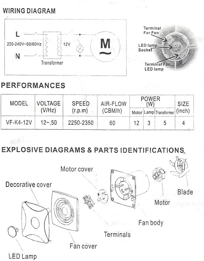 Bathroom Extractor Shower Fan 12v Led Light 100mm 4 With Transformer Amazon Co Uk Diy Tools